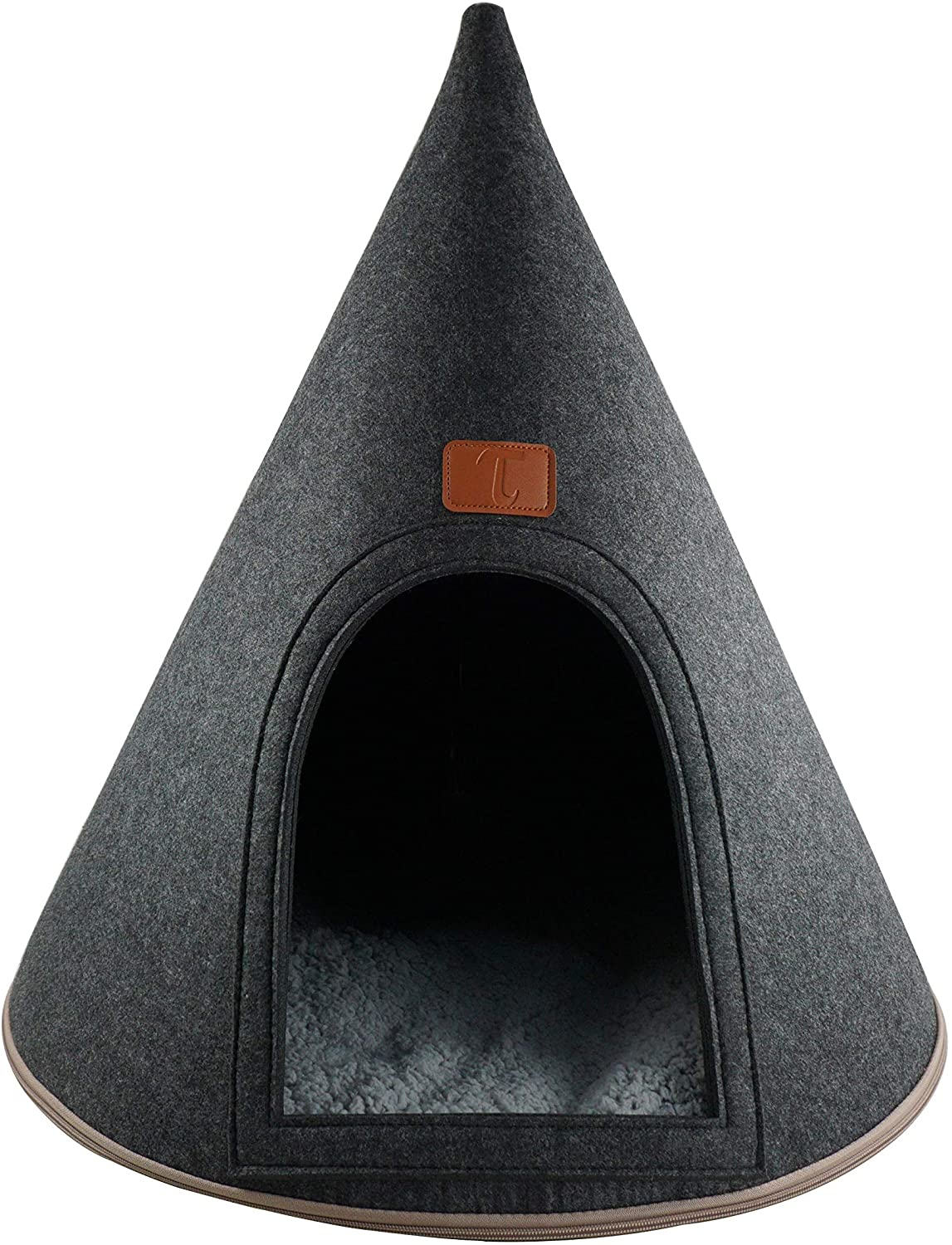 My Secret Cone Cave Easy Assembly Premium Felt Modern Cat Dog Small Animal Pet House Bed Condo
