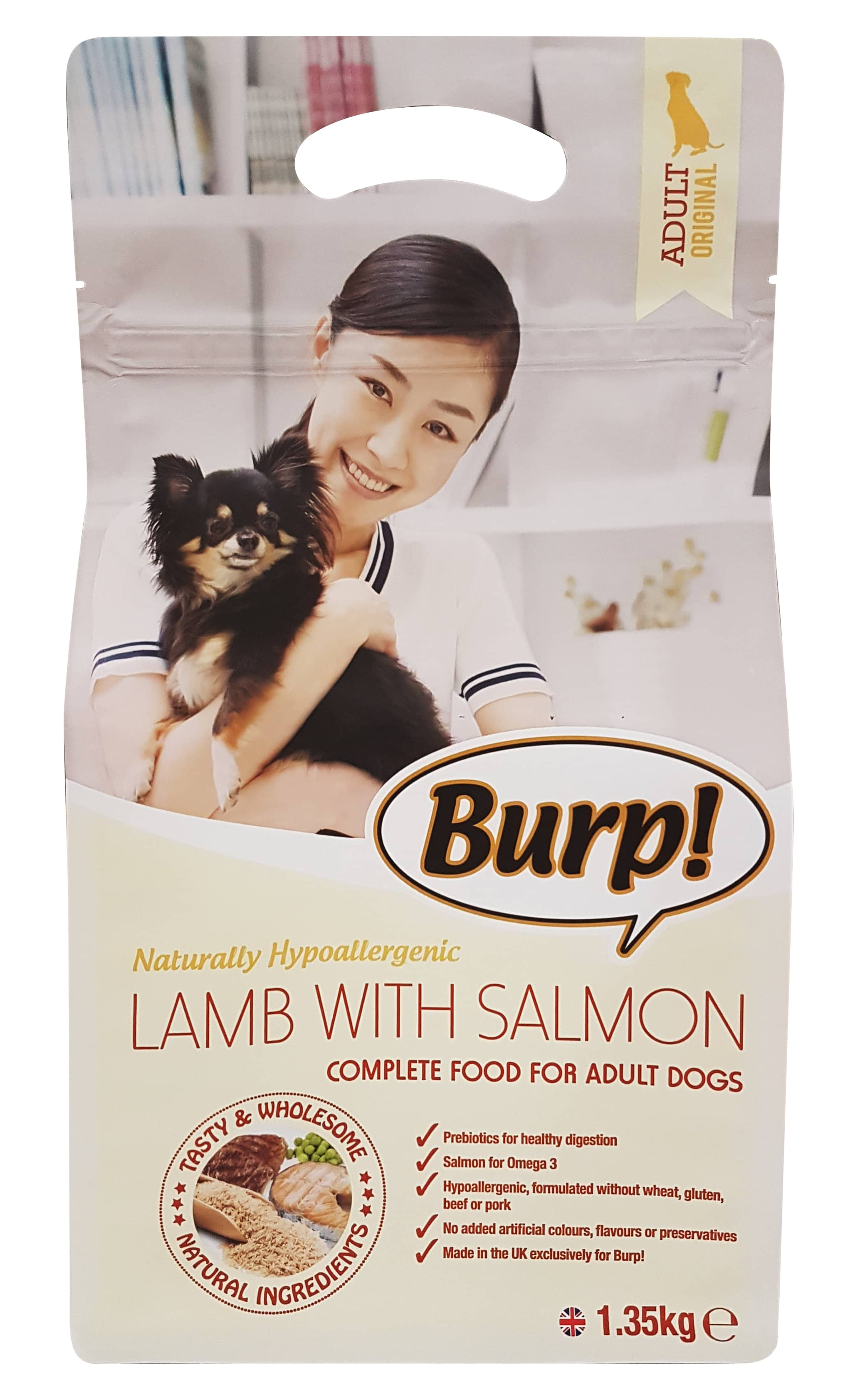 BURP! LAMB WITH SALMON HYPOALLERGENIC FOR ADULT DOG 1.35kg